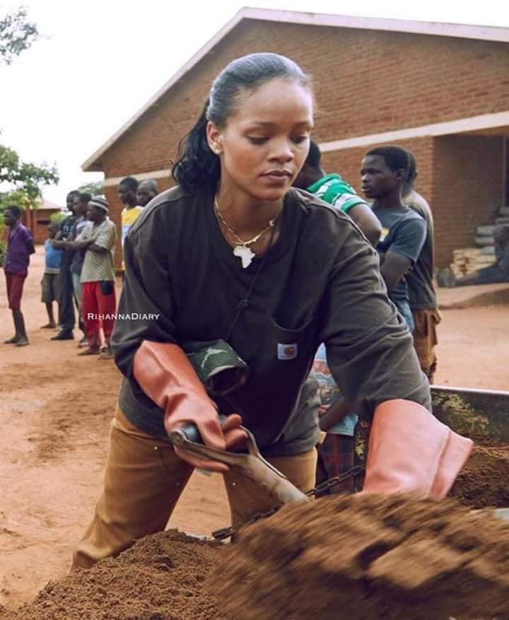 Rihanna Joins Laborers in Malawi in Building a Hospitall