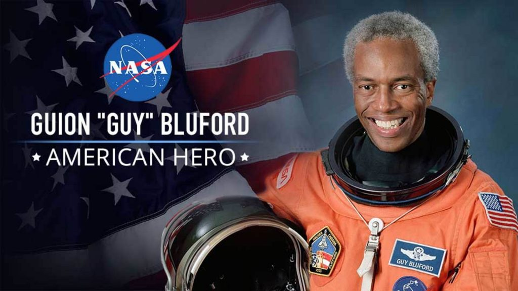 Guion S. Bluford – first African American to travel into space as a mission specialist on the Challenger space shuttle in 1983