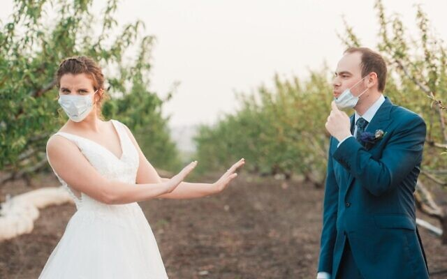 Couple get creative at wedding, in an era of social distancing