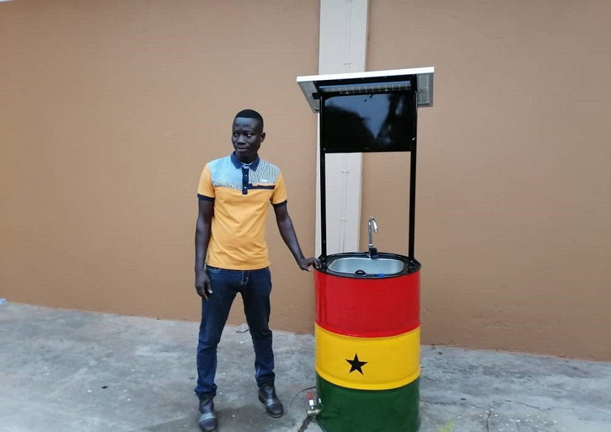 COVID-19: Ghanaian genius invents solar-powered sensitive hand-washing sink with remote sensor